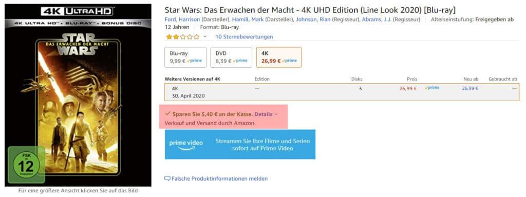 Der Preisvorteil wird direkt in den Artikelbeschreibungen angezeigt (rote Markierung)
