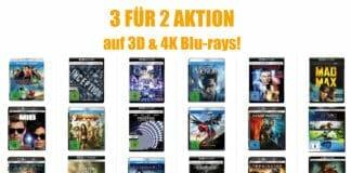3 für 2 Aktion Amazon 3D und 4K Blu-rays