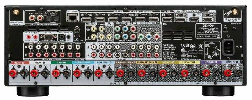 Die Anschluss-Sektion lässt keine Wünsche offen und liefert sogar HDMI 2.1 für 8K/60p und 4K/120p Signale
