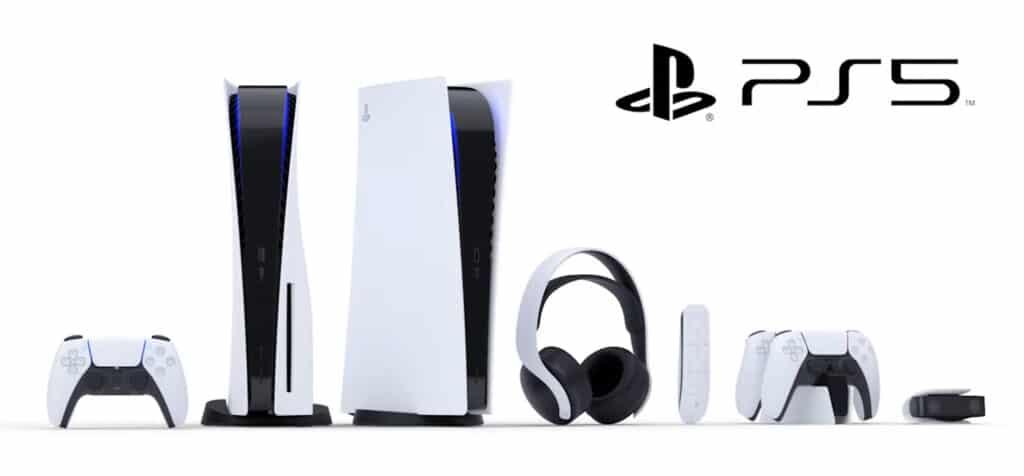 Die Playstation 5 Konsolen mit und ohne 4K Blu-ray Laufwerk, der DualSene Controller und weiteres Zubehör (Kopfhörer, Fernbedienung, Kamera)