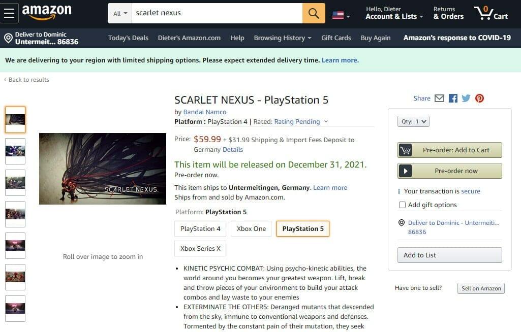 Scarlet Nexus für PlayStation 5 und Xbox Series X vorbestellbar
