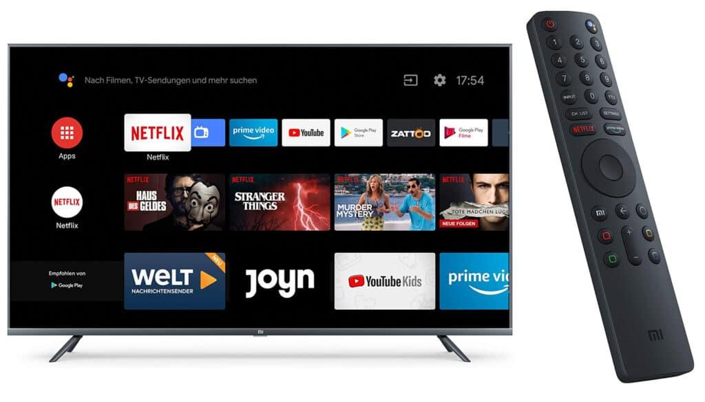 Schönes Design: Der Xiaomi MI TV 4S und die Bluetooth Fernbedienung wirken wie aus einem Guss