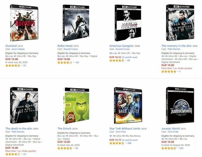 Die 4K Blu-ray für 10 Euro von Amazon.fr können auch nach Deutschland geschickt werden