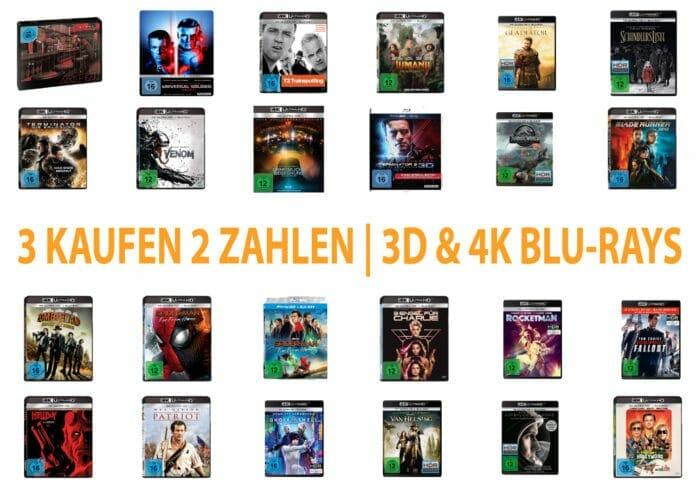 Spart 33% auf ausgewählte 3D & 4K Blu-rays: Kauf 4 - Zahl 2