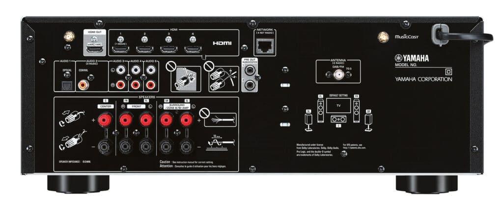 Recht spartanisch ausgestattet, das Anschluss-Panel des RX-V4A AV-Receivers mit HDMI 2.1