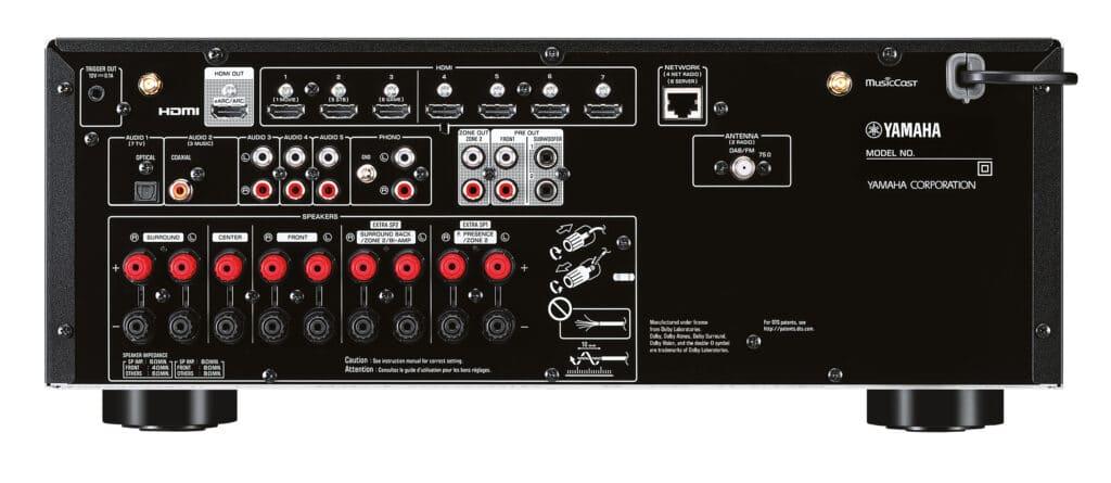 Auch das Anschluss-Panel des RX-V6A besinnt sich auf die Basics und die HDMI 2.1 Ein-/Ausgänge