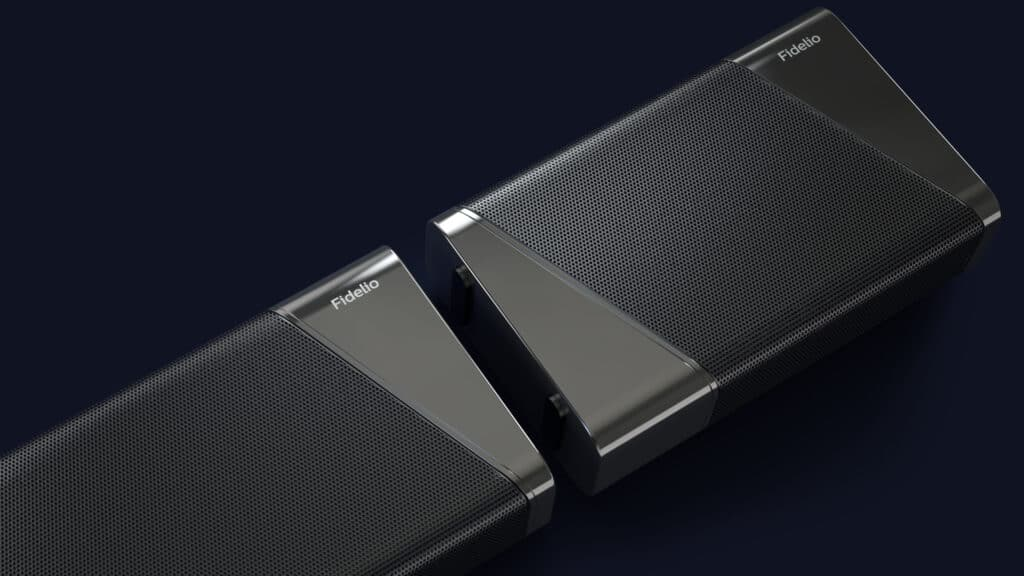 Zum Laden werden die Lautsprecher wieder mit der Soundbar verbunden und erweitern dabei den Sound des Klangriegels