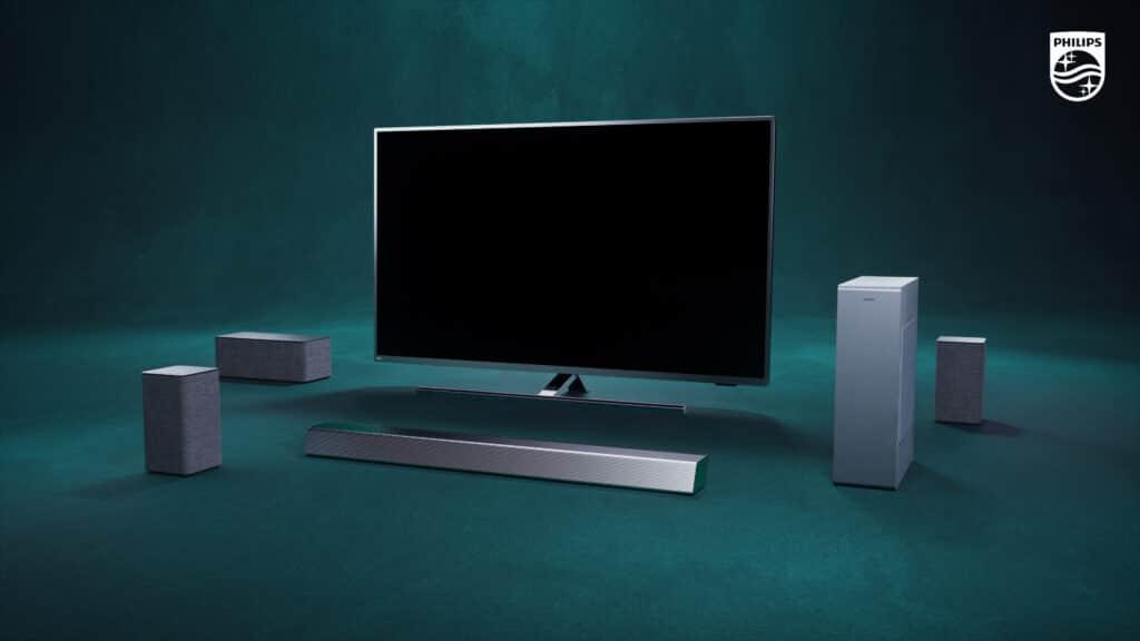 Der W6505 und W6205 in der Lineup-Übersicht zusammen mit einem Philips PUS8505 und der H8505 Soundbar