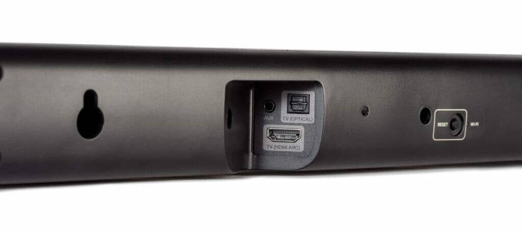 Die Anschlüsse der DHT-S416 Soundbar auf der Rückseite: HDMI (ARC), Digital-Optisch (S/Pdif) und ein Aux-Eingang (3.5mm Klinke)