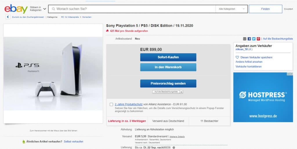 Die PlayStation 5 werden immer noch mit Gewinn auf Ebay.de verkauft. So krass wie zu Beginn der Vorbesteller-Periode ist es jedoch nicht mehr | Bild: ebay.de