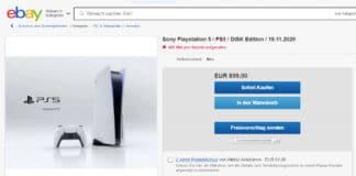 Eine Sony PlayStation 5 mit 80% Aufschlag für 899 Euro auf ebay.de