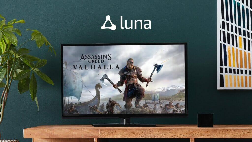 """Mit einem zusätzlichen Ubisoft-Abo lassen sich auch zukünftige Blockbuster-Titel wie """"Assassin's Creed: Valhalla"""" auf Luna zocken. Übrigens unten rechts der Fire TV Cube (unterstützt wohl Luna)"""