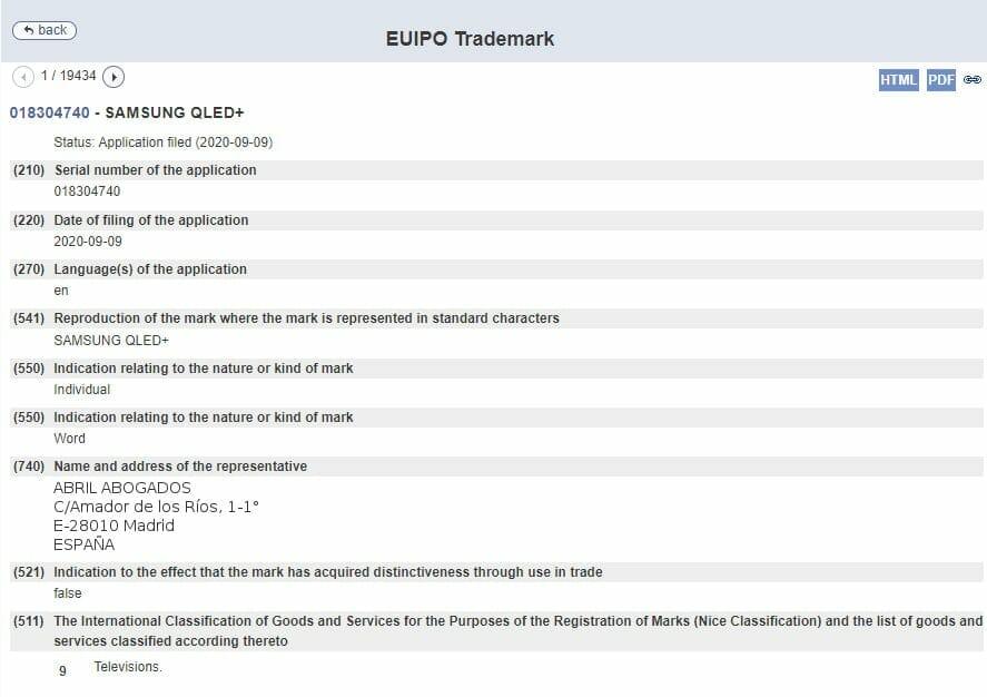 """Der Auszug aus dem Antrag bei der EUIPO für die Wortmarke """"SAMSUNG QLED+"""""""