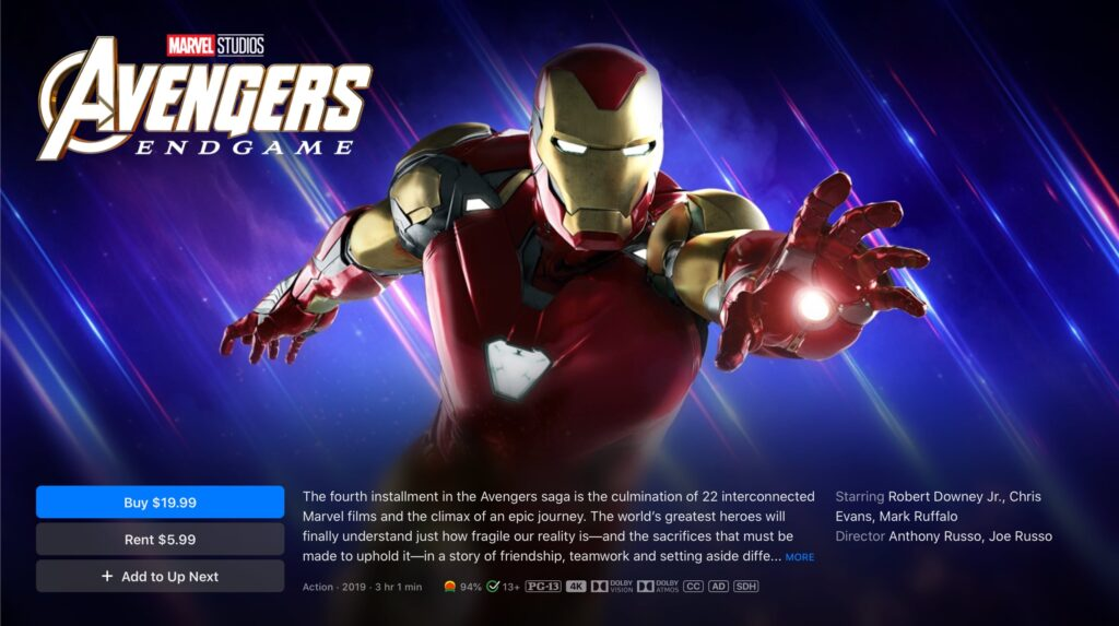 Avengers Endgame 4K itunes