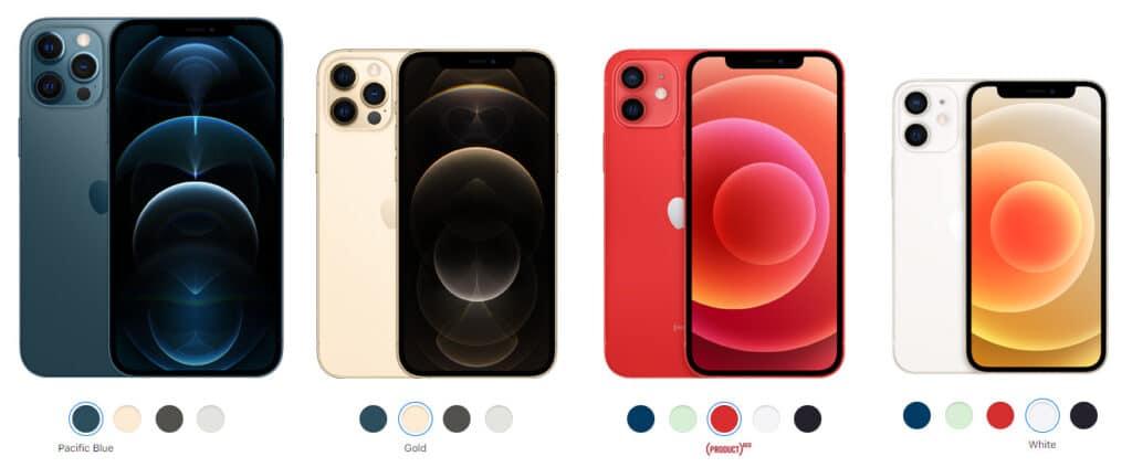 Farbvarianten des iPhone 12 Pro Max / Pro / 12 / 12 Mini