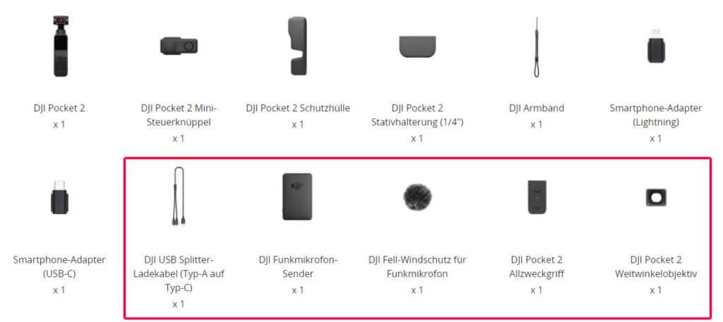 """Lieferumfang der DJI Pocket 2. Das rot umrandete Zubehör gibt es nur im """"Kreativ Combo Pack"""""""