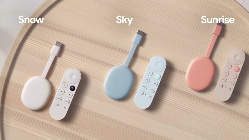 Die drei Farbvarianten des neuen Google Chromecast mit Google TV: Snow, Sky und Sunrise