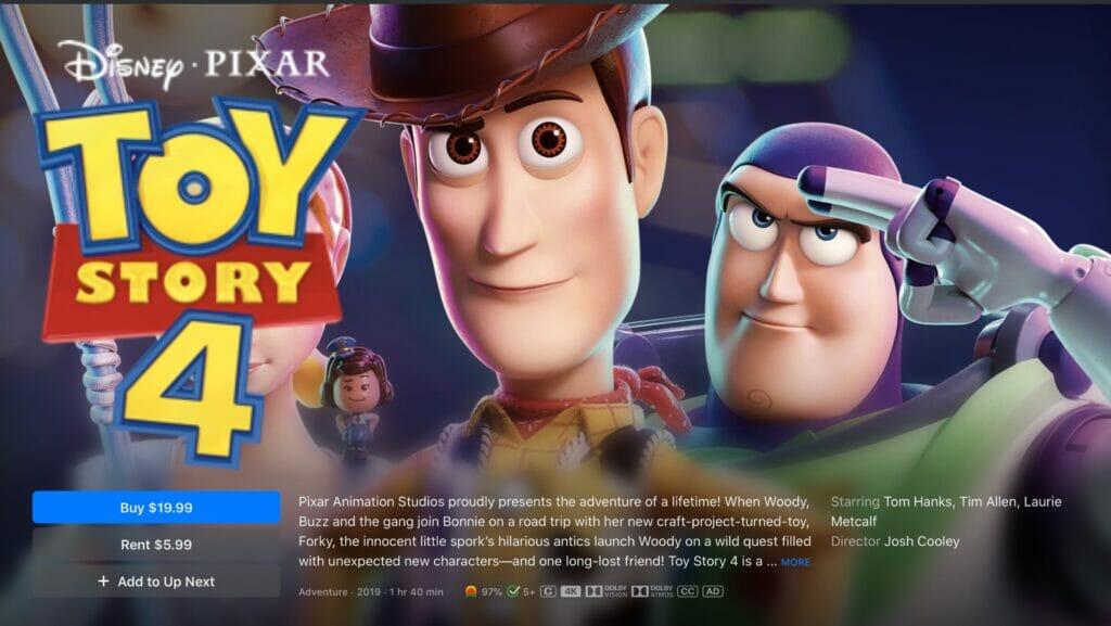 Und für die junge Zielgruppe gibt es Toy Story 4, ebenfalls mit Dolby Vision und Dolby Atmos