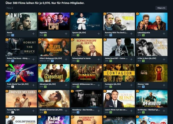 Unterhaltung satt! Über 300 Filme für je nur 97 Cent ausleihen in den Amazon Prime Deals