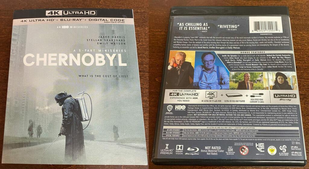 """Auf der Rückseite der Charnobyl 4K Blu-ray prangert das """"Dolby Vision""""-Logo"""