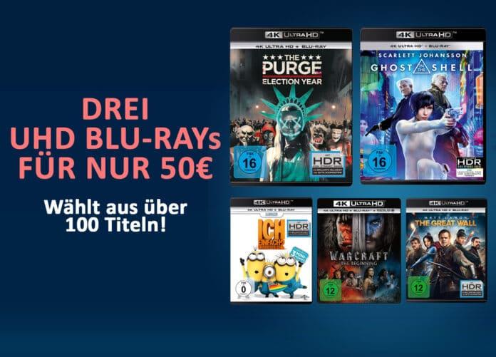 Drei 4K Blu-rays auswählen und nur 50 Euro bezahlen!