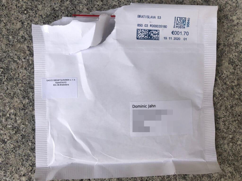 Diese Postsendung des Fake-Shop-Betreibers erreichte die Redaktion - angeblich ovn der GASCO GROUP SLOVAKIA