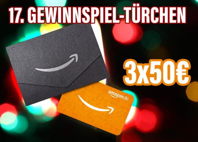 Gewinnspiel-Türchen Nr. 17 lockt mit drei 50 Euro-Gutscheinen für Amazon.de!