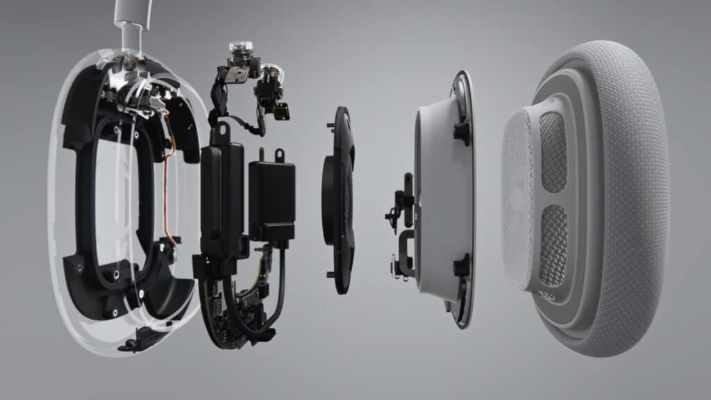 Die einzelnen Elemente einer Ohrmuschel des Apple Airpod Max