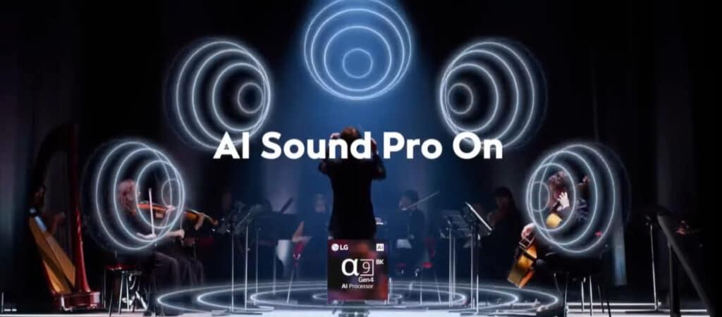 Ein neues Feature des Alpha 9 Gen 4 Prozessors ist AI Sound Pro (5.1.2-Upscaling)
