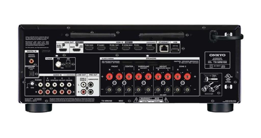 Anschlüsse des TX-NR6100 auf der Rückseite inkl. HDMI 2.1 Ein- und Ausgängen