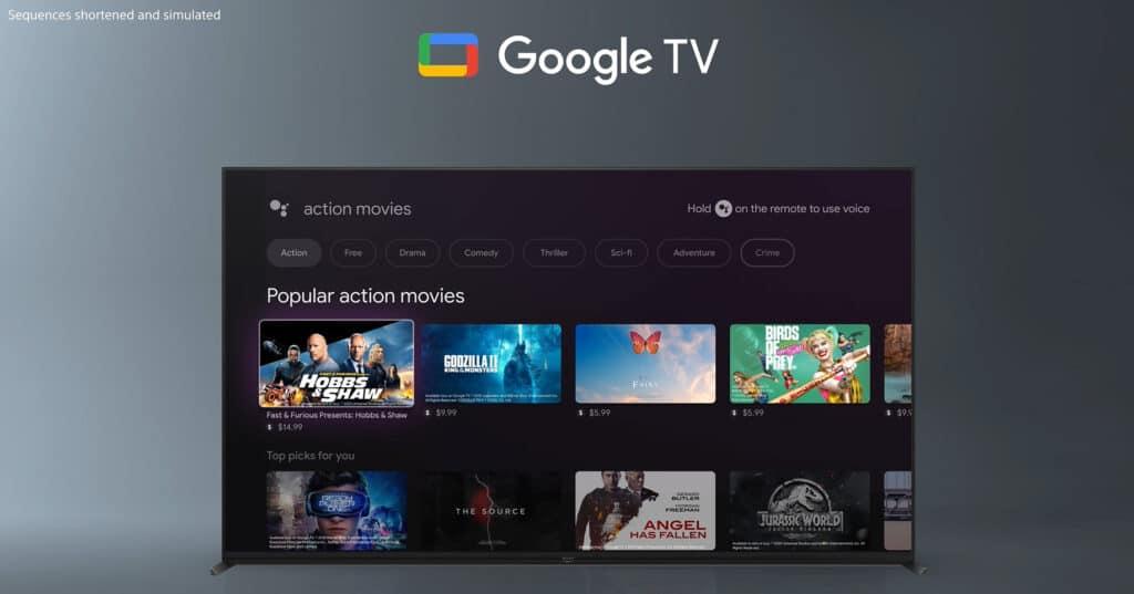Google TV begleitet den Nutzer auf dem X95J 4K BRAVIA XR TV