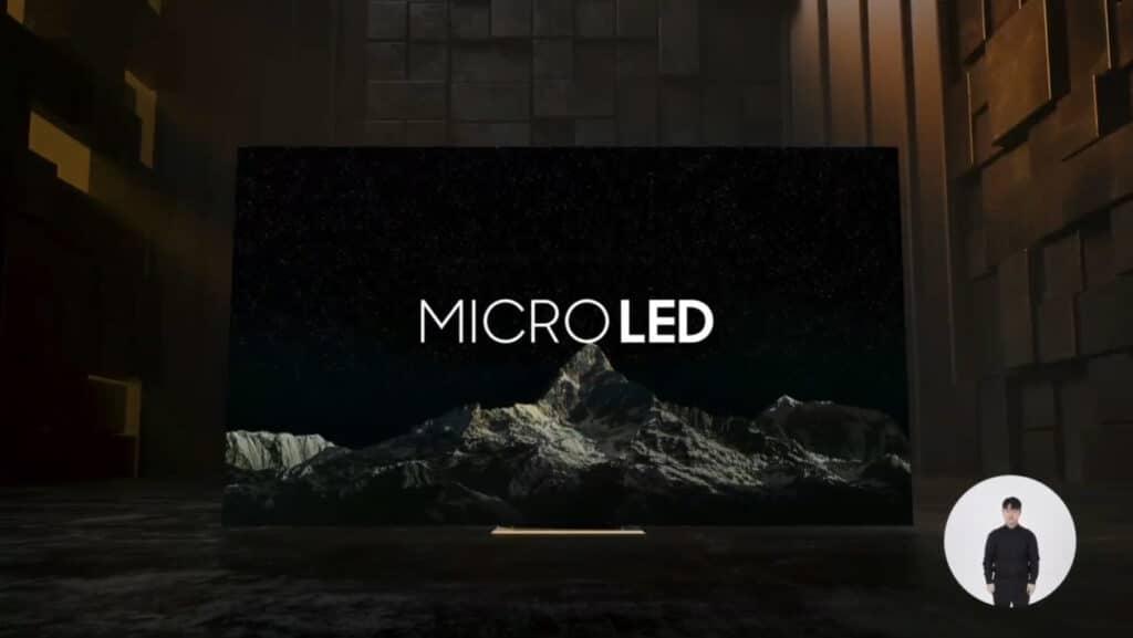 """Wie hier abgebildet könnte es Micro LED auch klassisch mit Standfuß im """"TV-Design"""" und nicht nur als Wandinstallation geben"""
