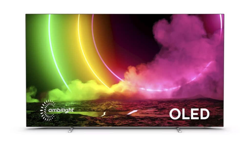 Der OLED806 mit flachen, glänzenden Standfüßen, erhältlich in 48, 55, 65 und 77 Zoll
