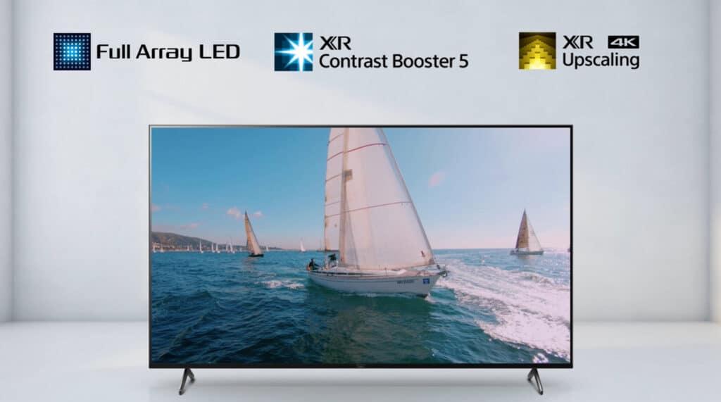 Full Array LED Backlight, XR Contrast Booster und XR 4K Upscaling ist im X90J integriert