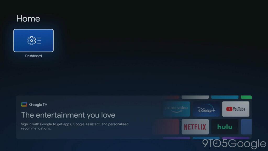 Im Basis-Modus von Google TV ist das UI stark eingeschränkt.