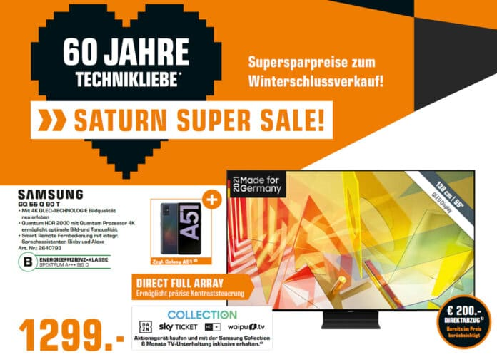 Den Samsung 4K QLED TV Q90T mit 55 Zoll inkl. Galaxy A51 gibt es zum Bestpreis von 1.299 Euro!