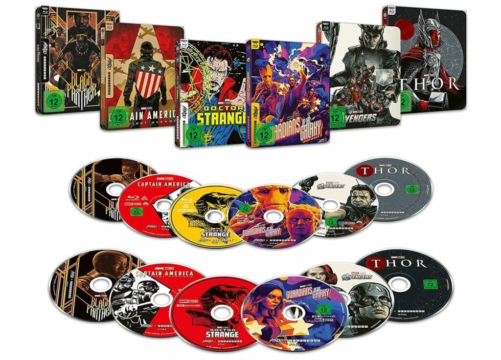 Die Marvel 4K Blu-ray Steelbooks in verschiedenen Pop-Art-Styles