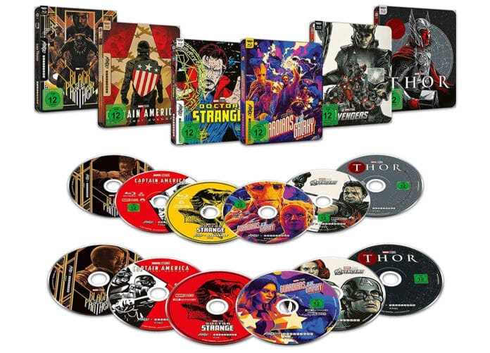 Die Marvel 4K Blu-ray Steelbooks in verschiedenen Pop-Art-Styles