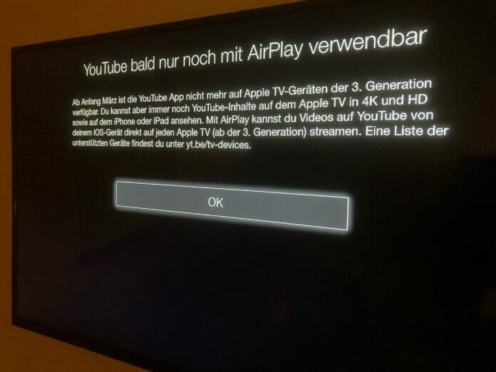 Die Youtube-App steht bald nicht mehr auf Apple TV Geräten der 3. Generation zur Verfügung