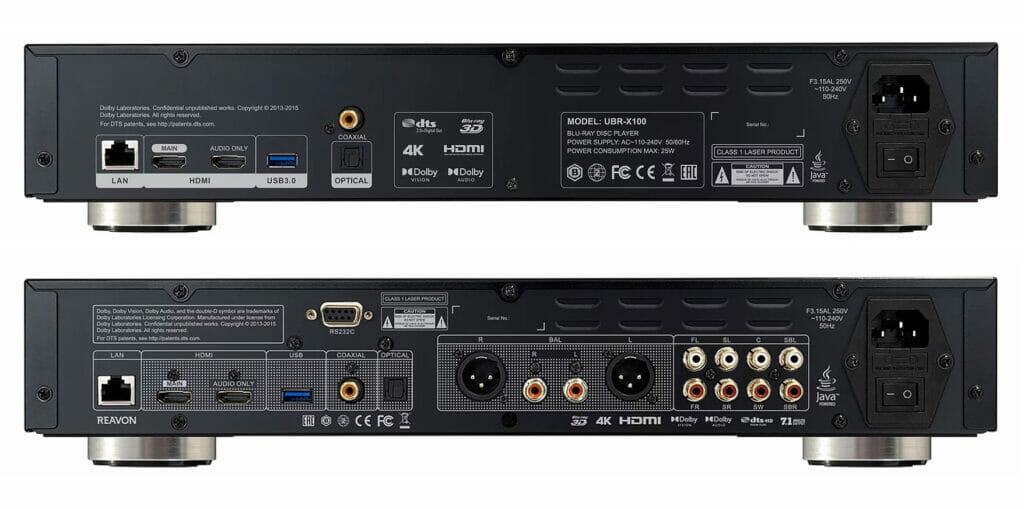 Die Anschlüsse des Reavon UBR-X100 (oben) und UBR-X200 (unten). Gut zu erkennen die zusätzliche analoge Audio-Sektion des UBR-X200 mit dediziertem, analogen Stereo-Out (unbalanced RCA, balanced XLR)