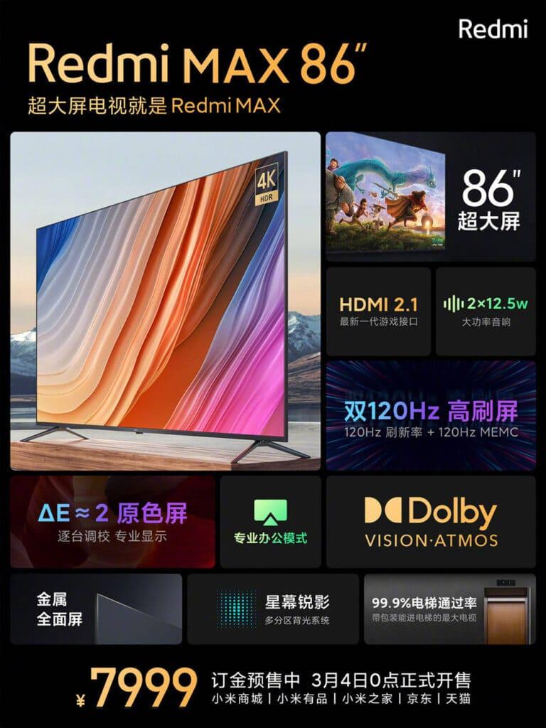 Highlight-Features des Redmi MAX 86 4K Fernsehers mit HDMI 2.1