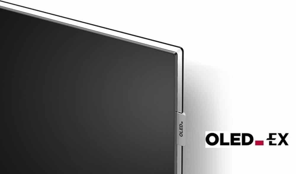 Die von LG Display angemeldete OLED.EX Bildmarke und das entsprechende Symbol am Rahmen des OLED.EX
