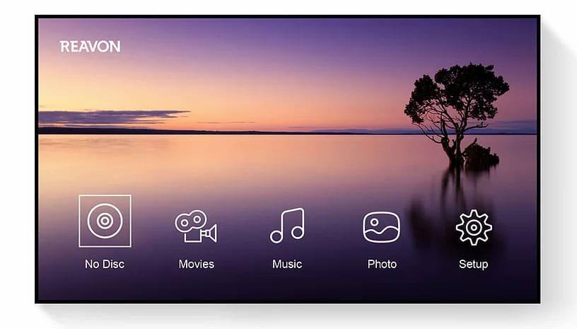 Menüoberfläche der Reavon 4K Blu-ray Player