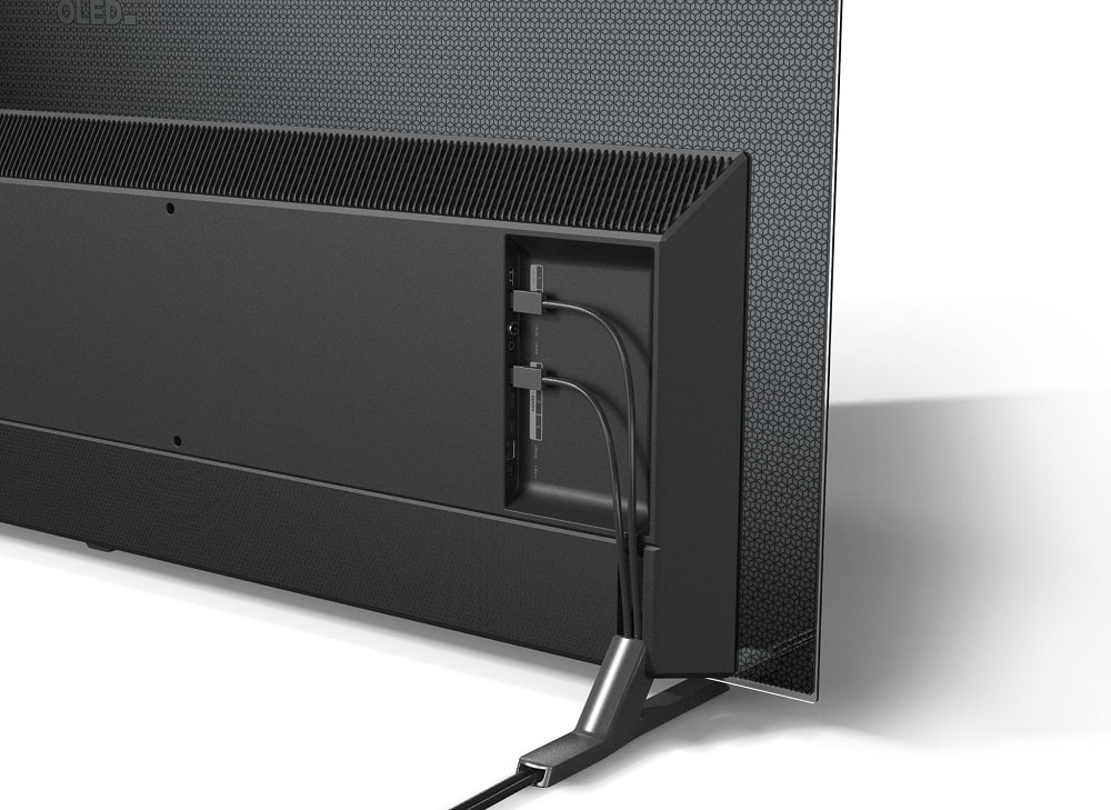 Die Rückseite des LG OLED.EX. Wir haben ganze fünf HDMI-Eingänge erspäht. Alle HDMI 2.1?