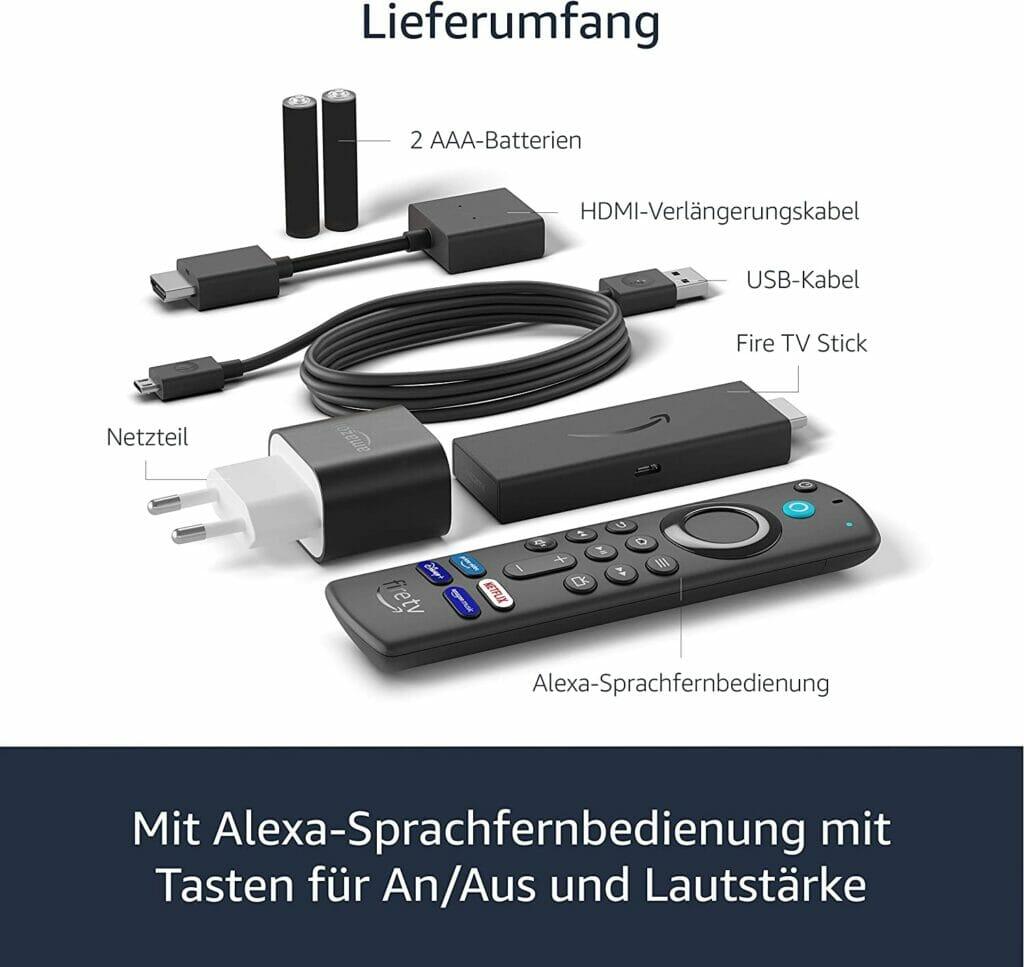 Der Lieferumfang des aktuellen Amazon Fire TV mit der neuen Sprachfernbedienung
