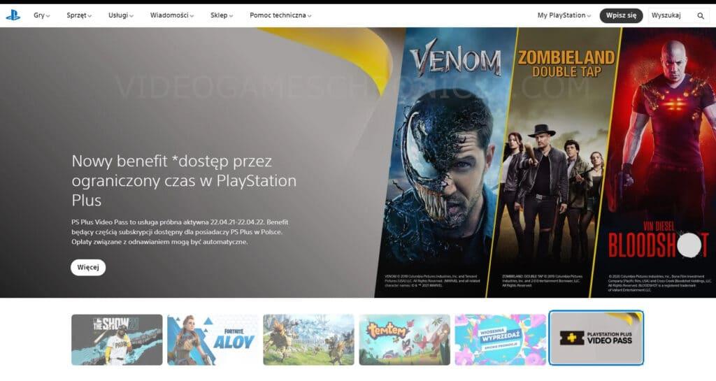 Ein Screenshot mit Verweis auf den PlayStation Plus Video Pass
