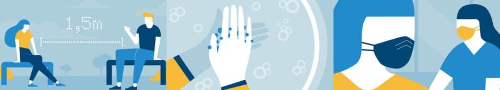 Die AHA-Formel (Abstand Halten, Hygiene beachten, Alltagsmaske tragen) soll jetzt auch in Filmen und Serien umgesetzt werden