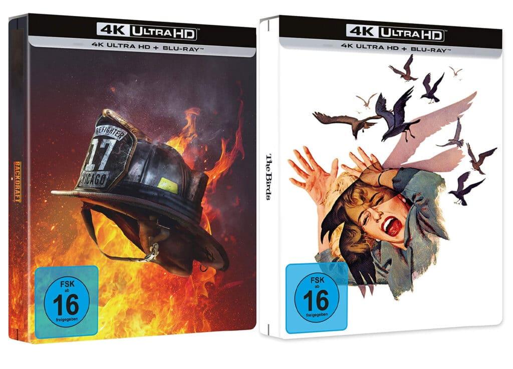 """Die Designs der limitierten 4K Blu-ray Steelbooks von """"Backdraft"""" und """"Die Vögel"""""""