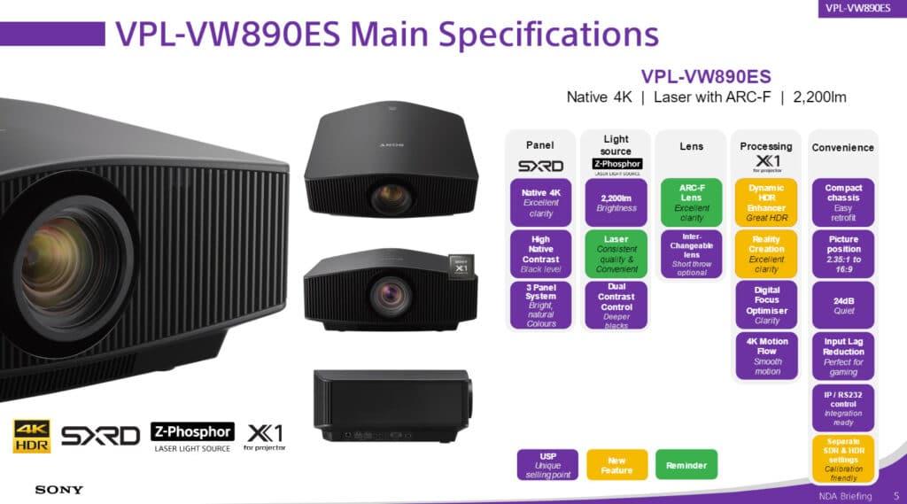 Highlight-Features des VPL-VW890ES 4K Projektors mit Laser-Lichtquelle