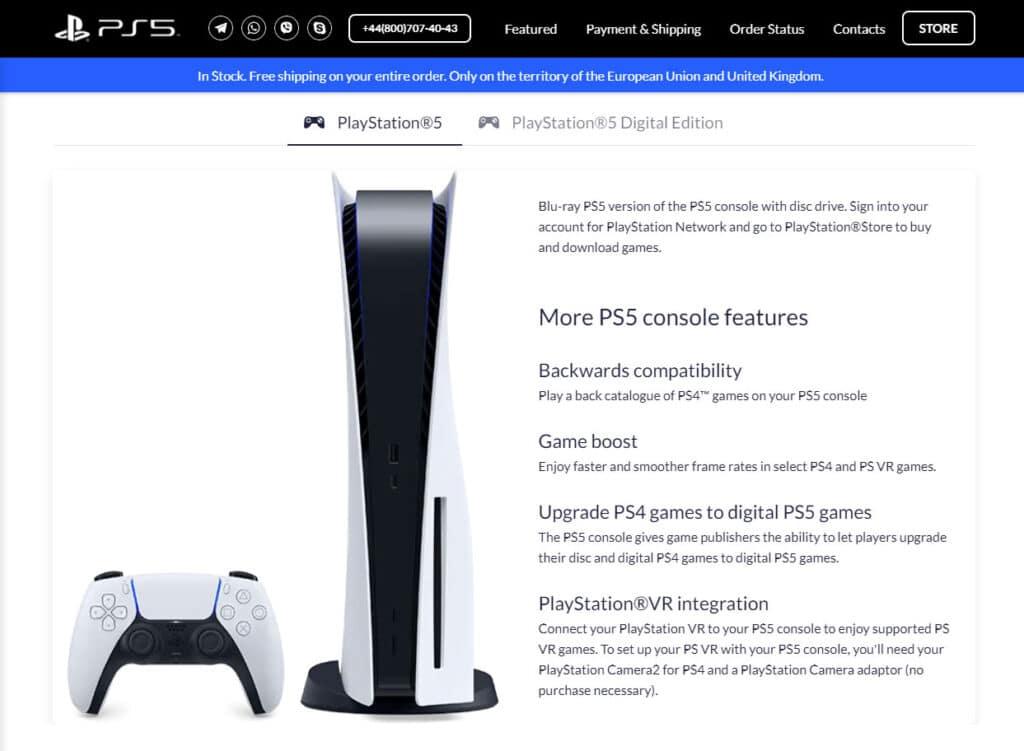 Die PS5 als Disc- und Digital-Variante ist laut Webseite noch lieferbar